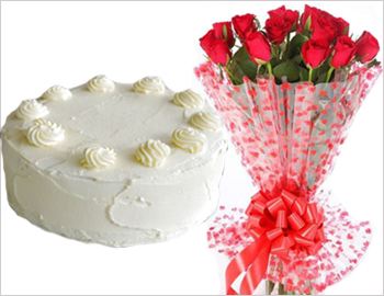 1/2 kg Cake (Vanilla) and 12 Red Roses: What more needs to be said Let this combination of Cake and Red Roses say it all for you