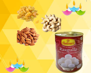 Dry Fruits with Rasgulla: Gift this Delicious Rasgulla (500 gms) along with a lovely assortment of dry fruits, namely Kaju / Cashews (100 gms) and Badam / Almonds (100 gms.) and Raisins / kismis(100 gms) on this auspicious occasion.