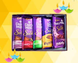 Dairy Milk Chocolate (Set of 5): 5 Dairy milk silk chocolates( 50-60 approx) grams each