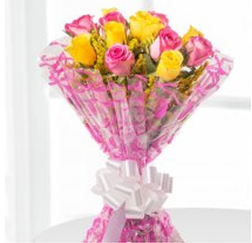 Yellow and Pink Roses Bunch; This bunch consists of 5 Pink and 5 Yellow roses.