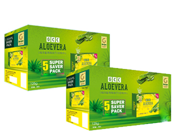 2 Aloevera  Soap Saver packs  (10 soaps); Girijan Aloevera Soap contains the purest natural vegetable oils with Aloevera Gel and Fragrance. The Aloevera Gels is procured from the tribals which source them from the forests. The soaps have the highest TFM (Total fatty matter) of 76. They are best used in all seasons for wrinkle free skin.