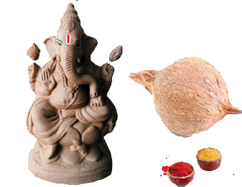 Eco-Friendly Ganesha With Coconut Set: Gift this Ganesha made of natural clay and colours (approx 6 inches height) along with a Coconut and Turmeric and kumkum.