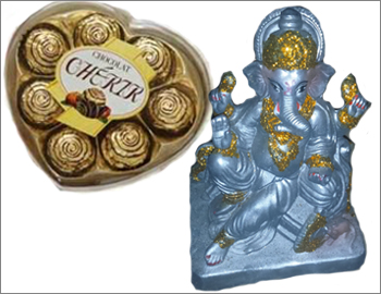 Eco-Friendly Ganesha With Cherir Chocolate: Gift this Ganesha made of natural clay and colours (approx 12 inches height) along with Cherir Chocolate Box.
