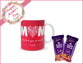 Trendy Mug with  MOM quotes and Dairy Milk Silk Chocolates: Trendy Mug with MOM quotes on it and Dairy Milk Silk Chocolates ( 2 nos. each 60 gms.)