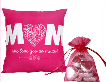 Love You Mom Cushion with Bag of Chocolates: Express love for your adorable mom with this printed cushion and a small pouch of chocolates (5 pcs). This appealing cushion will not only be an ideal addition to her living space, but also a thoughtful way to make her feel special (Height  16 inch X Length  16 Inch).