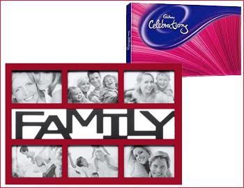 Photo Frame with Cadbury Celebration Regular Assortment: Photo frame along with Cadbury Celebration Regular Assortment (around 141gms )