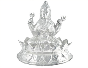 Silver Lakshmi Devi Idol: Goddess Lakshmi idol made of silver (approx weight 30gms)