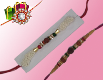 Beautiful Rakhis: Beautiful rakhis(set of 2) that are beaded, diamond,Pearls,studded and made with love.