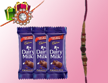 Beautiful Rakhi With Delightful Chocolates: Send across love and affection for your adorable brother in a unique way with this Beautiful Rakhi With Delightful Chocolates. Specifications 1 Rakhi, 3 Dairy Milk Silk Chocolates (20 gms each).