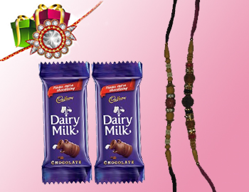 Cadbury Dairy Milk With Beautiful Rakhi(Set Of 2): Indulge in a Chocolates affair with your adorable brothers as you surprise them with this Dairy Milk  and Beautiful Rakhis. Specifications Dairy Milk 2 (52gm), 2 Rakhis.