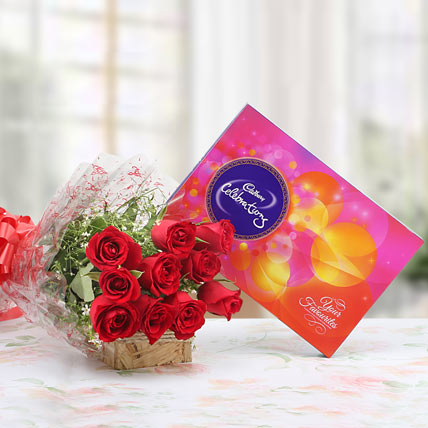 Roses and Celebration Chocolate Pack: A remarkable symbol of your endless love. Timeless and elegant, this beautiful bouquet of 10 red roses with lots of fillers in a cellophane packing finished with a ribbon bow is sure to please. Combine it with 141.5 grams of Cadbury Celebrations chocolate pack and delight your loved ones.