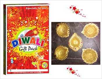 Crackers Gift Pack With Diya Set: Gift your loved ones on this Diwali this special gift box of approx 15 varieties of crackers along with a Diya Set(Clay diyas decorated with gold paint and kundans)