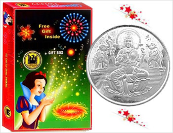 Crackers Gift Pack With 5 Gms Silver Coin: Gift your loved ones on this Diwali this special gift box of approx 20 varieties of crackers along with a Silver Coin (Goddess lakshmi) approx 5gms