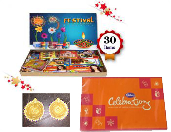 Crackers Gift Pack With Diya Set And Celebrations Chocolates: Gift your loved ones on this Diwali this special gift box of approx 15 varieties of crackers along with a Diya Set(Clay Diyas decorated with golden paint and kundans) and Small Celebrations Gift Pack