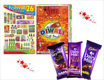 Crackers Gift Pack With Dairy Milk Chocolates: Gift your loved ones on this Diwali this special gift box of approx 15 varieties of crackers along with Dairy Milk Chocolates(Silk, Bubbly and Crackle)