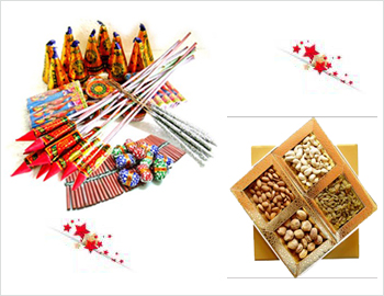 Crackers Gift Pack With Mixed Dry Fruits: Gift your loved ones on this Diwali this special gift box of approx 15 varieties of crackers along with Dry Fruits(approx 400gms)