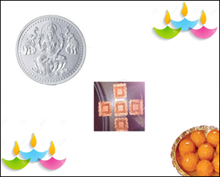 5 Gms Silver Coin With Diya Set and Motichoor Laddu: Gift your loved ones on this Diwali this Silver Coin (Goddess Lakshmi) approx 5 gms along with a Diya Set(Five Clay diyas) and Motichoor Laddu (500 gms)