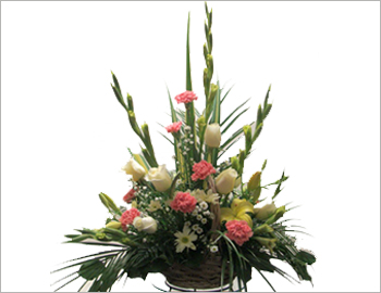 Small Round Basket of Roses Asters and Glads; A gorgeous round arrangement of a variety of flowers - roses, asters and gladioli in various shades with golden rods used as an attractive filler - the perfect gift for someone you love.