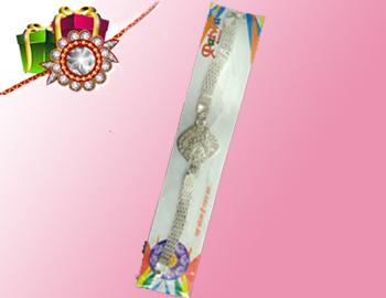 Beautiful Silvered color Rakhi: Beautiful Silver Coloured Rakhi