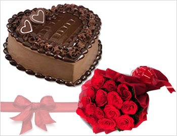 Heart-shaped Cake with Bunch of Red Roses: Heart-shaped Chocolate Cake (1 kg) with Bunch of Ten Red Roses
