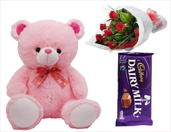 Teddy with Red Roses Bunch and Dairy Milk Chocolate: Two feet height teddy bear, six red roses and one Cadbury Dairy Milk chocolate (80 gms)